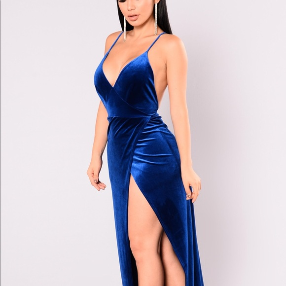 Angelique Velvet Maxi Dress , Royal